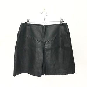 CLUB MONACO vegan leather mini pleated skirt